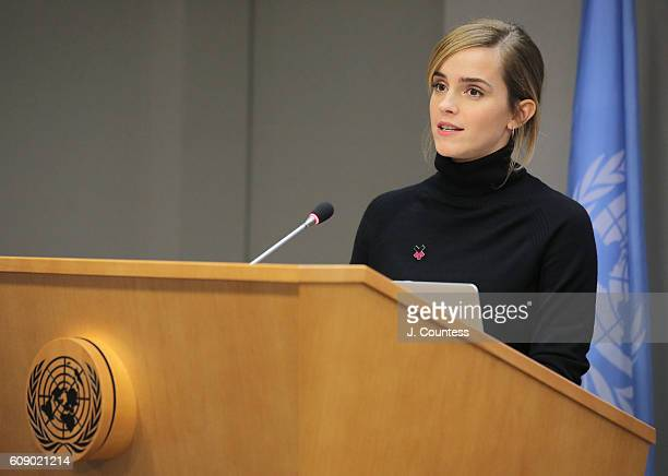 Actress Emma Watson speaks at the launch of the HeForShe IMPACT 10x10x10 University Parity Report at The United Nations on September 20 2016 in New...