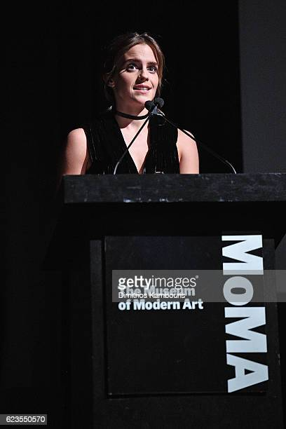 Actress Emma Watson speaks onstage at the MoMA Film Benefit presented by CHANEL A Tribute To Tom Hanks at MOMA on November 15 2016 in New York City