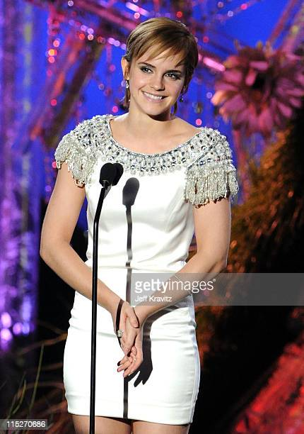 Actress Emma Watson speaks onstage during the 2011 MTV Movie Awards at Universal Studios' Gibson Amphitheatre on June 5 2011 in Universal City...