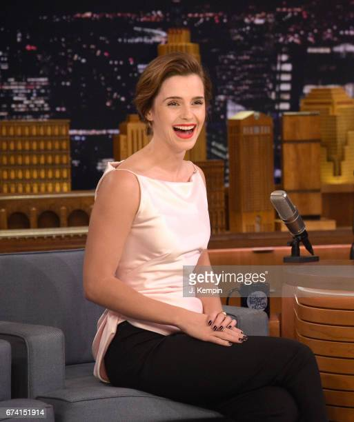 Actress Emma Watson visits 'The Tonight Show Starring Jimmy Fallon' at Rockefeller Center on April 27 2017 in New York City