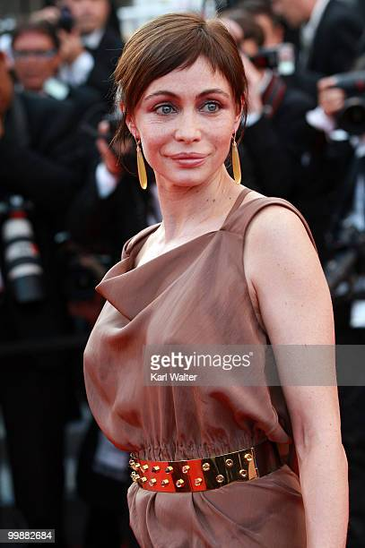 Actress Emmanuelle Béart attends the 'Of Gods And Men' Premiere at the Palais des Festivals during the 63rd Annual Cannes Film Festival on May 18...