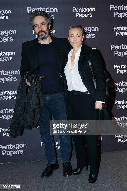 Actress Emmanuelle Beart and guest attend the Pentagon Papers Paris Premiere at Cinema UGC Normandie on January 13 2018 in Paris France