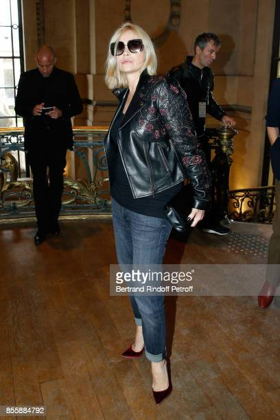 Actress Emmanuelle Beart attends the Elie Saab show as part of the Paris Fashion Week Womenswear Spring/Summer 2018 on September 30 2017 in Paris...