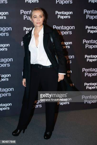 Actress Emmanuelle Beart attends the 'Pentagon Papers' Paris Premiere at Cinema UGC Normandie on January 13 2018 in Paris France