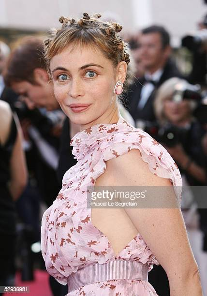 Actress Emmanuelle Beart attends the screening of Peindre Ou Faire L'Amour at the Palais during the 58th International Cannes Film Festival May 18...