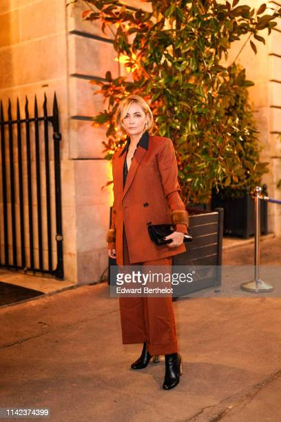 Actress Emmanuelle Beart is seen outside the Diner du Cinema Madame Figaro event on April 12 2019 in Paris France