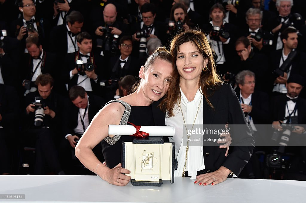 Actress Emmanuelle Bercot (L), winner of the Best Performance by an Actress award for her performance in 'Mon Roi' poses with Maiwenn during a photocall for the winners of the Palm D'Or during the 68th annual Cannes Film Festival on May 24, 2015 in Cannes, France.