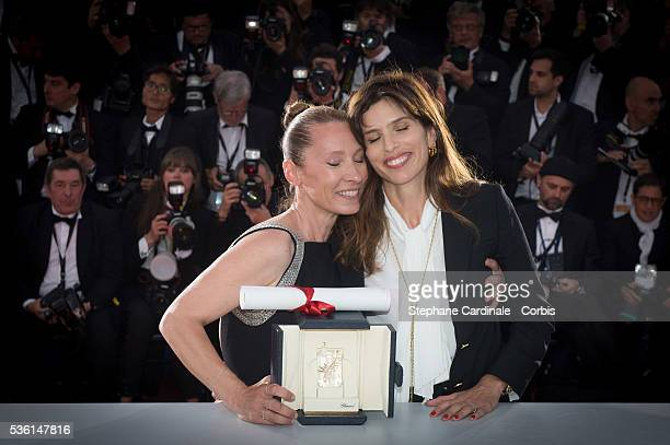 Actress Emmanuelle Bercot , winner of the Best Performance by an Actress award for her performance in 'Mon Roi' poses with Maiwenn during a photocall...