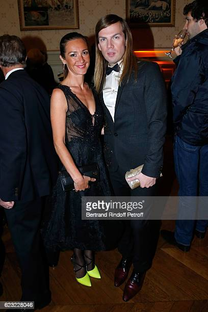 Actress Emmanuelle Boidron and stylist Christophe Guillarme attend the 24th 'Gala de l'Espoir' at Theatre du Chatelet on November 14 2016 in Paris...