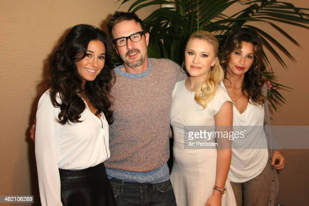 Actress Emmanuelle Chriqui Actor David Arquette Actress Emily Osment and Actress Gina Gershon attend Crackle TCA Presentation at The Langham...