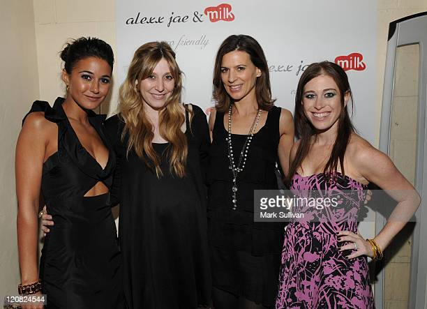 Actress Emmanuelle Chriqui Alexx LevinMonkarsh actress Perrey Reeves and Bari MilkenBernstein attend the Alexx Jae And Milk FW10 Collection launch...