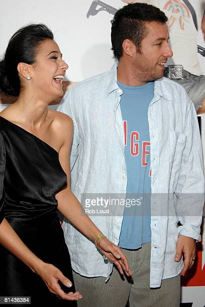 Actress Emmanuelle Chriqui and actor Adam Sandler attend Columbia Pictures' screening of You Don't Mess With The Zohan on June 4 2008 at the Ziegfeld...