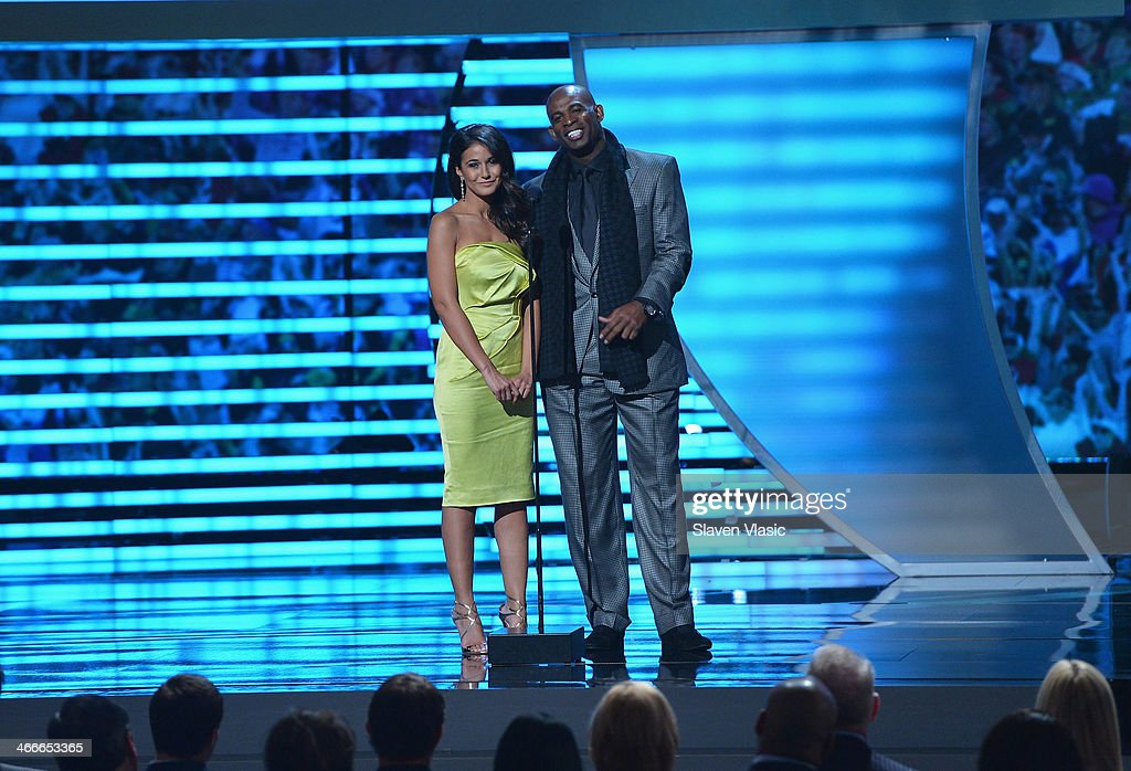 Actress Emmanuelle Chriqui and Deion Sanders attend the 3rd Annual NFL Honors at Radio City Music Hall on February 1, 2014 in New York City.
