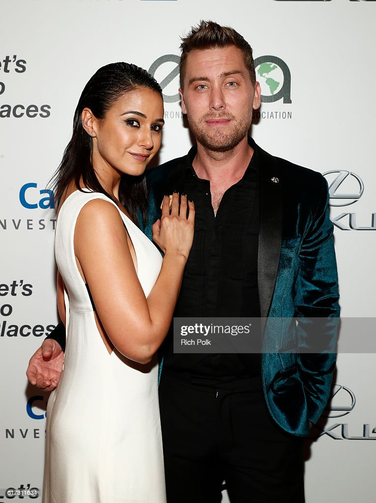 Actress Emmanuelle Chriqui (L) and tv personality Lance Bass attend the Environmental Media Association 26th Annual EMA Awards Presented By Toyota, Lexus And Calvert at Warner Bros. Studios on October 22, 2016 in Burbank, California.
