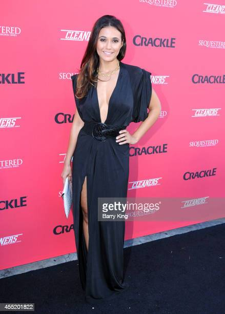 Actress Emmanuelle Chriqui arrives at the Crackle Original Series' 'Cleaners' and 'Sequestered' Summer premiere celebration at 1 OAK on August 14...