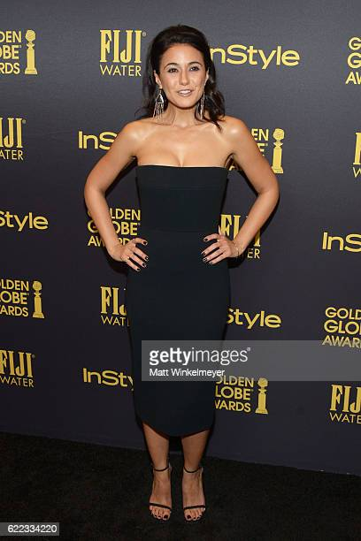 Actress Emmanuelle Chriqui arrives at the Hollywood Foreign Press Association and InStyle celebrate the 2017 Golden Globe Award Season at Catch LA on...