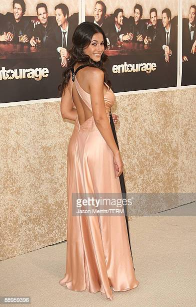 Actress Emmanuelle Chriqui arrives at the premiere of HBO's Entourage Season 6 on July 9 2009 in Los Angeles California