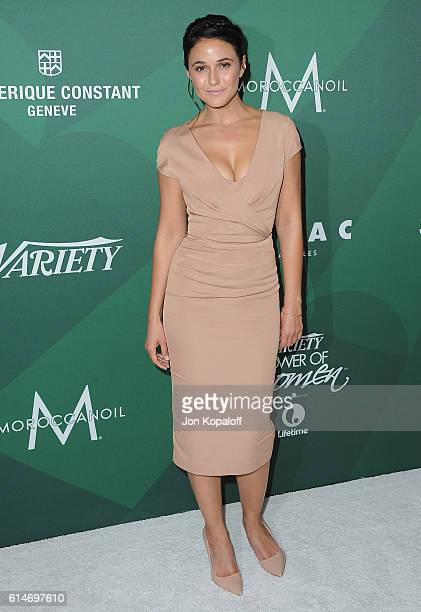 Actress Emmanuelle Chriqui arrives at Variety's Power Of Women Luncheon 2016 at the Beverly Wilshire Four Seasons Hotel on October 14 2016 in Beverly...