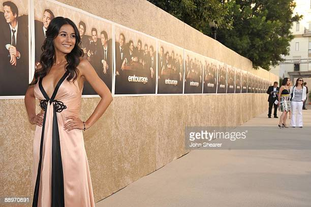 Actress Emmanuelle Chriqui arrives on the red carpet of the Los Angeles premiere of the six season of Entourage at the Paramount Theater on the...