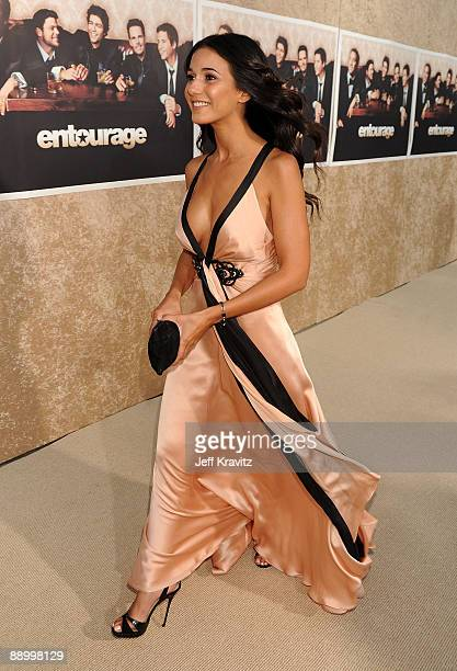 Actress Emmanuelle Chriqui arrives on the red carpet to HBO's official premiere of Entourage Season 6 held at Paramount Studios on July 9 2009 in Los...