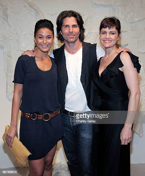 Actress Emmanuelle Chriqui artist/designer Greg Lauren and actress Carla Gugino attend the Los Angeles party for Alteration presented by Greg Lauren...