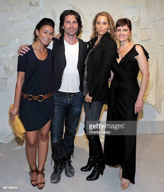 Actress Emmanuelle Chriqui artist/designer Greg Lauren and actresses Elizabeth Berkley and Carla Gugino attend the Los Angeles party for Alteration...