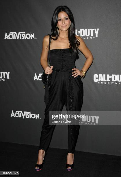 """Actress Emmanuelle Chriqui attends Activision's """"Call of Duty Black Ops"""" launch party at Barker Hangar on November 4, 2010 in Santa Monica,..."""