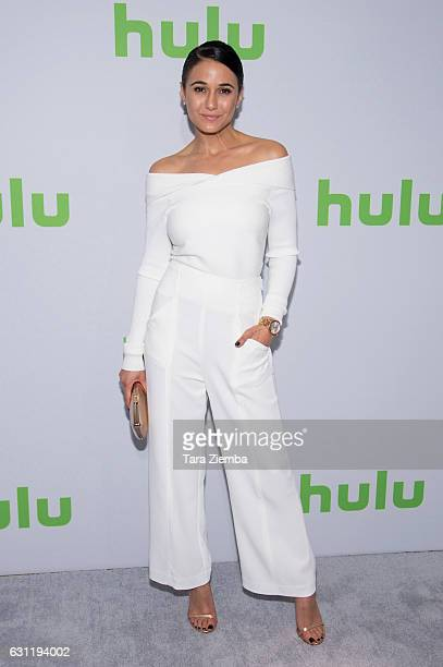 Actress Emmanuelle Chriqui attends the 2017 Hulu Television Critics Association winter press tour at Langham Hotel on January 7 2017 in Pasadena...