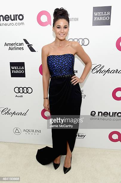 Actress Emmanuelle Chriqui attends the 23rd Annual Elton John AIDS Foundation Academy Awards Viewing Party on February 22 2015 in Los Angeles...