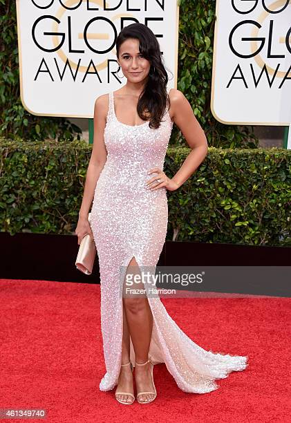 Actress Emmanuelle Chriqui attends the 72nd Annual Golden Globe Awards at The Beverly Hilton Hotel on January 11 2015 in Beverly Hills California