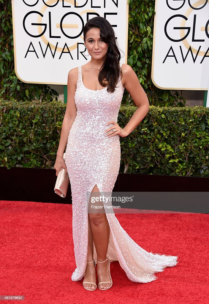 Actress Emmanuelle Chriqui attends the 72nd Annual Golden Globe Awards at The Beverly Hilton Hotel on January 11, 2015 in Beverly Hills, California.