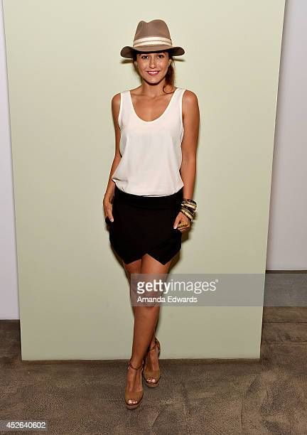 Actress Emmanuelle Chriqui attends the Environmental Salon Series 'The Sustainable Marketplace' with Adrian Grenier on July 24 2014 in Los Angeles...