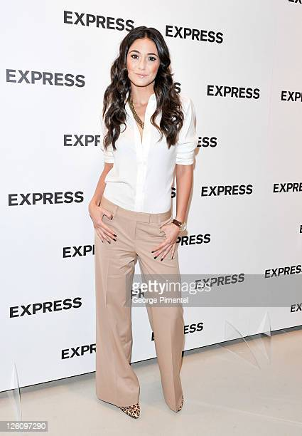 Actress Emmanuelle Chriqui attends the launch of 'Express' celebrating its first store in Canada at Fairview Mall on September 22 2011 in Toronto...