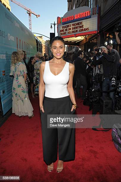 Actress Emmanuelle Chriqui attends the premiere for Showtime's Roadies at The Theatre at Ace Hotel on June 6 2016 in Los Angeles California