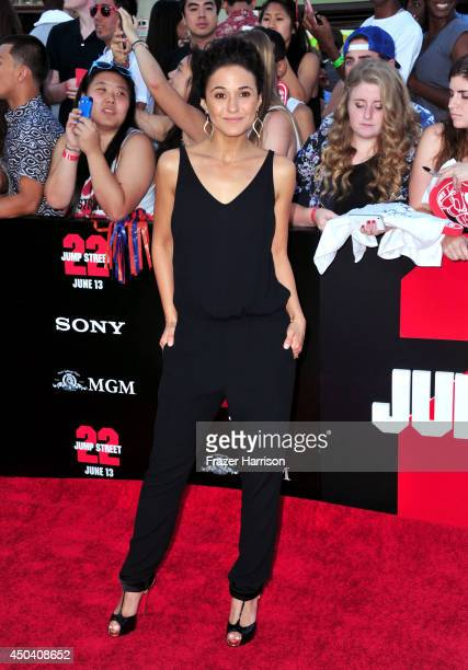 Actress Emmanuelle Chriqui attends the Premiere Of Columbia Pictures' '22 Jump Street' at Regency Village Theatre on June 10 2014 in Westwood...