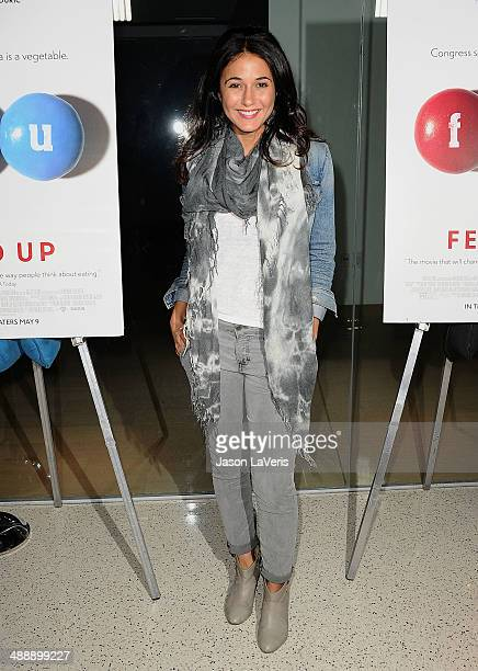Actress Emmanuelle Chriqui attends the premiere of 'Fed Up' at Pacfic Design Center on May 8 2014 in West Hollywood California