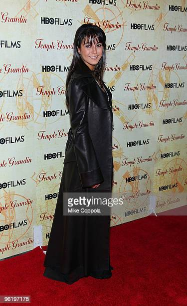 Actress Emmanuelle Chriqui attends the premiere of Temple Grandin at the Time Warner Screening Room on January 26 2010 in New York City
