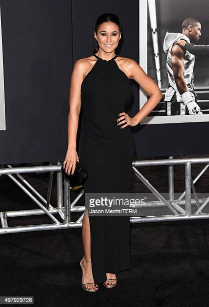 Actress Emmanuelle Chriqui attends Warner Bros Pictures' Creed Premiere at Regency Village Theatre on November 19 2015 in Westwood California