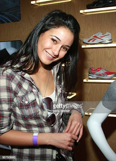 Actress Emmanuelle Chriqui poses at Reebok during the Kari Feinstein Golden Globes Style Lounge at Zune LA on January 14, 2010 in Los Angeles,...