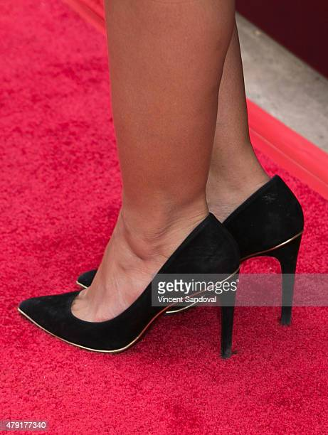 b48d53ef9 Actress Emmanuelle Chriqui shoe detail attends the grand opening of Anil  Arjandas Jewels Los Angeles Boutique