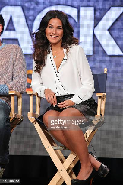 Actress Emmanuelle Chriqui speaks on panel at Crackle TCA Presentation at The Langham Huntington Hotel and Spa on January 12 2014 in Pasadena...