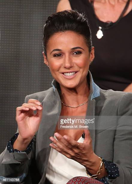 Actress Emmanuelle Chriqui speaks onstage during the National Geographic's 'Killing Jesus' panel at the 2015 Winter Television Critics Association...