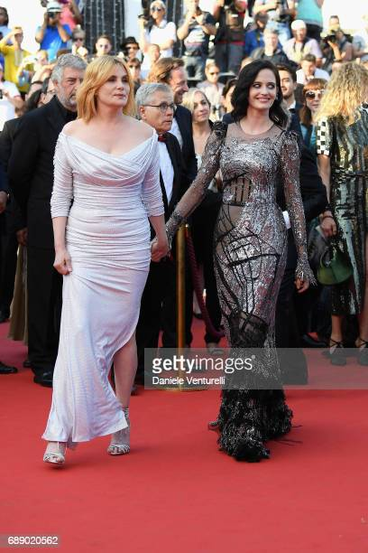 Actress Emmanuelle Seigner and actress Eva Green attend the 'Based On A True Story' screening during the 70th annual Cannes Film Festival at Palais...