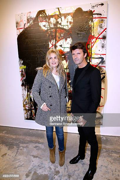 Actress Emmanuelle Seigner and CEO of Mazarine Group and Founder of 'Studio des Acacias' PaulEmmanuel Reiffers attend the 'New American Art'...