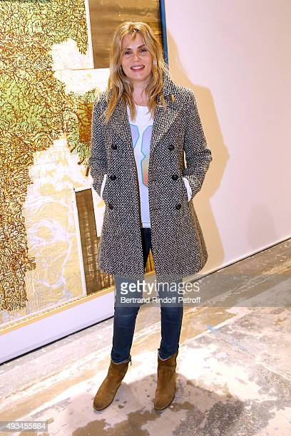 Actress Emmanuelle Seigner attends the 'New American Art' Exhibition of Artists Matthew Day Jackson and Rashid Johnson Opening Cocktail at Studio des...