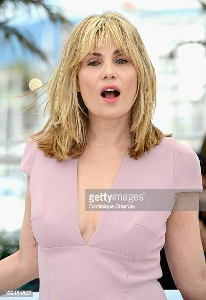 Actress Emmanuelle Seigner attends the photocall for 'La Venus A La Fourrure' at The 66th Annual Cannes Film Festival at the Palais des Festivals on...