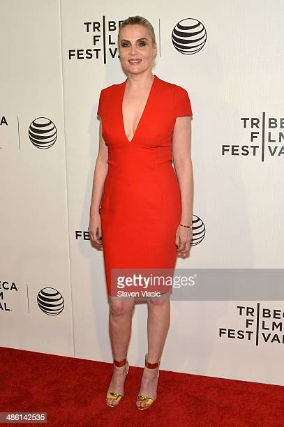 Actress Emmanuelle Seigner attends the 'Venus in Fur' Premiere during the 2014 Tribeca Film Festival at BMCC Tribeca PAC on April 22 2014 in New York...