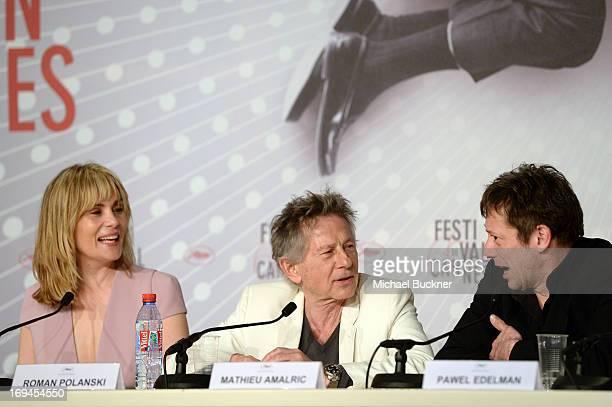 Actress Emmanuelle Seigner Director Roman Polanski and actor Mathieu Amalric attend the 'La Venus A La Fourrure' Press Conference during the 66th...