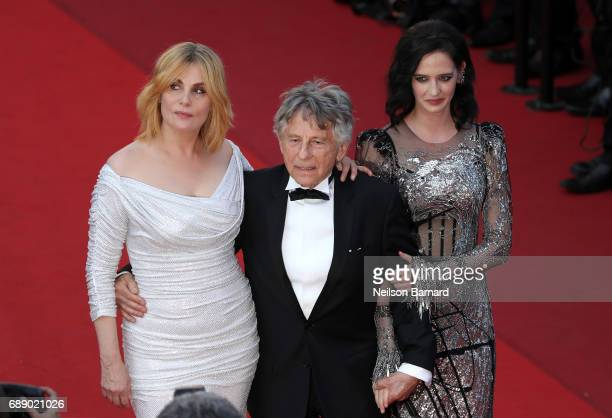 Actress Emmanuelle Seigner director Roman Polanski and actress Eva Green attend the Based On A True Story screening during the 70th annual Cannes...