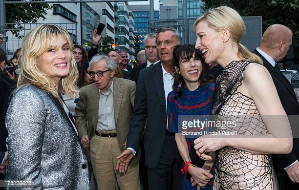 Actress Emmanuelle Seigner director Woody Allen actress Sally Hawkins and actress Cate Blanchett arrive to the Paris premiere of 'Blue Jasmine' at...
